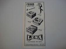 advertising Pubblicità 1963 REGISTRATORI LESA RENAS A/2 - R/2 - B/1