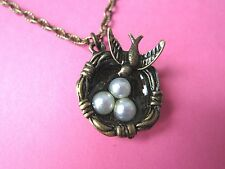 Vintage Look Antique Bronze & Pearl Eggs Birds Nest Swallow Necklace New