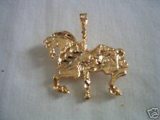 Gold Plated Diamond Cut Carousel Horse Pin Brooch