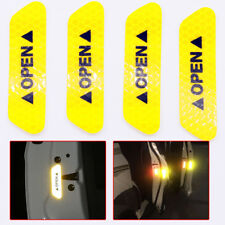 4x Super Yellow Car Door Open Sticker Reflective Tape Safety Warning Door Decal