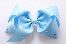 Light Blue Hair Bows Girls Diamante Hair Clip Accessories 20cm TGB18