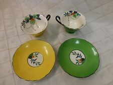 Bone China Tea cups Antique Yellow Green Hand Painted Floral Scalloped Harlequin