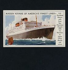 DOLLAR STEAMSHIP LINE / S.S. PRESIDENT HOOVER Maiden Voyage 1931 * Rare Souvenir