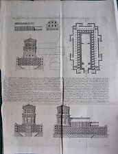 1770  ANTIQUE PRINT -BIBLE- TEMPLE OF SOLOMON , VARIOUS VIEWS, PLANS, WITH KEY