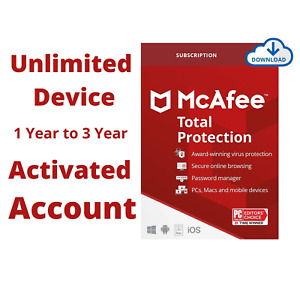 McAfee Total Protection 2021 Premium Subscription - Unlimited Device 1-2-3 Year