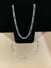 "925 Sterling Silver Men's Ladies Figaro Chain Necklace 18"" & Bracelet 8"" SET"