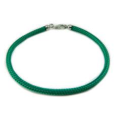 Bracciale verde portafortuna in sagola con finali argento 925 _ lucky charm