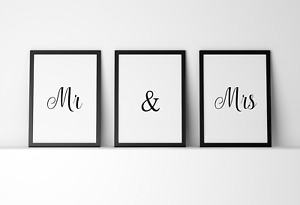 Set of 3 Mr & Mrs Valentine Gift Poster Print Picture A4 PR50
