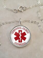 Angina Medical Alert Sterling Silver 925 Pendant Necklace