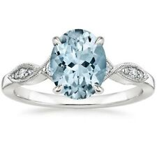 4Ct Oval Cut Aqua Blue Topaz Simlnt Diamond Solitaire Ring White Gold Fns Silver