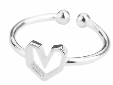 925 silver cute heart love dainty adjustable ring jewellery present gift