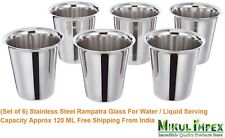Stainless Steel Rampatra Glass / Tumbler For Water / Liquid Serving (Set of 6)
