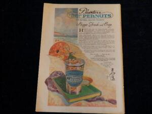 Vintage 1920 Planters Peanuts Mr Peanut Magazine Print Ad  At The Beach Q131