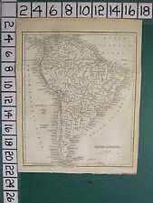 1756 Antiguo Mapa ~ América del Sur ~ Brasil Nueva Granada Perú Venezuela Chili