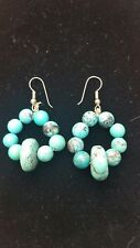 Round Bead Stones Pierced Earrings with Turquoise