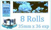 8 Rolls Ultrafine Jazzy Blues Experimental Color Print Film 35mm x 36 Exp C-41