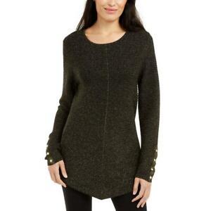 Alfani Womens Black Ribbed Metallic Swing Hem Pullover Sweater Top XL BHFO 7858