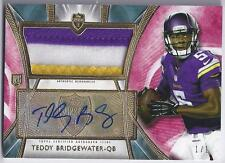 2014 Topps Supreme Teddy Bridgewater RC Auto 3 Color Patch 1/1