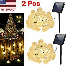 2 Pcs 20ft 30 LED Solar String Ball Lights Outdoor Waterproof White Garden Decor
