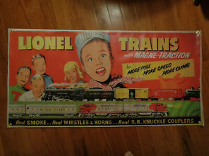 "*REPRODUCTION*LIONEL*VINYL*STORE DEALER DISPLAY BANNER*24""X48"" TRAIN ROOM"