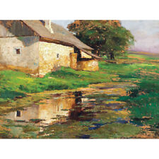 Florian Pond Behind The House Garden Painting Canvas Wall Art Print Poster