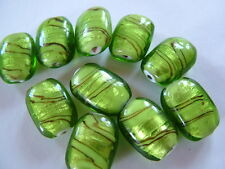 10 Striped green foiled lamp work glass beads 12mm x 18mm
