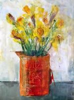 Original Acrylic Pastel Painting Daffodil Flowers A3. Still Life. FineArt Signed