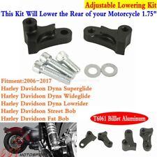 """1/"""" LOWERING SLAM DROP REAR KIT BILLET BLACK Fit For Harley yna Super Glide 95-05"""