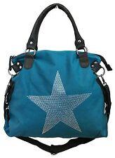 ESTRELLA pedrería de Estrás Bolso STAR Lona Fashion Comprador azul petróleo