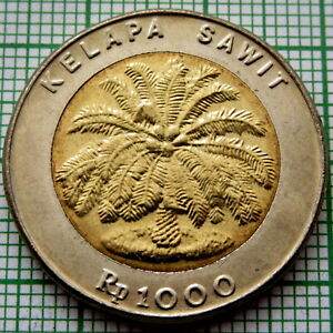 INDONESIA 1993 1000 RUPIAH, PALM OIL TREE, BI-METALLIC, UNC