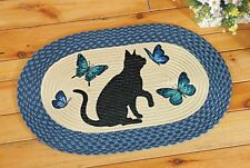 Cute Kitty Cat and Butterfly Blue Braided Accent Floor Rug Door Mat Kitchen Home