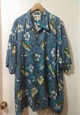 M.E. SPORT Men's Blue Hawaiian Short Sleeve Shirt Size 3X Rayon Tropical Floral