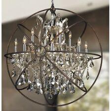13-light D33''H35'' Chrome w/ Flemish Brass Cage Golden teak Crystal Chandelier