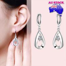 Beautiful  925 Sterling Silver Filled Teardrop Earrings with Zircon Crystal