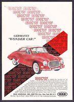 "1959 DKW Hardtop Coupe art ""Germany's Wonder Car"" vintage promo print ad"