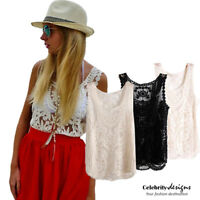 Bohemian Vest Crochet White Lace Top Australia, Black, Cream IN HAND 8 10 12 14