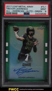 2017 Leaf Metal Army All-American Green Trevor Lawrence ROOKIE RC AUTO /10 PSA 9