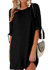 Mini Dress with Adjustable Sleeves Round Neck Black XL New