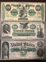 Reproduction Copies 1861 Demand Notes $5,$10,$20 Civil War USA Set