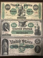 Reproduction Copies 1861 Demand Notes $5,$10,$20 Civil War USA Set
