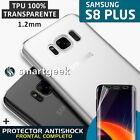 FUNDA TPU Gel 100% TRANSPARENTE para SAMSUNG Galaxy S8 PLUS + PROTECTOR FULL