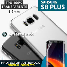 FUNDA TPU Gel 100% TRANSPARENTE para SAMSUNG Galaxy S8 PLUS + PROTECTOR FULL