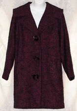 Vtg Wool Burgandy Womens Lined Peacoat Coat Jacket Costume 50's 60's Button Down
