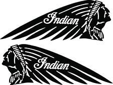 INDIAN HEAD MOTORCYCLES VINYL DECALS - LARGE - SET OF 2 - BLACK