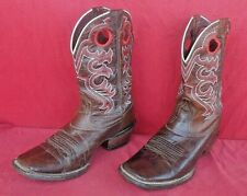 High Quality Square Toe ARIAT Fancy Design Leather Boots Cowboy Boots~12D - NR