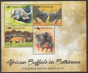 Botswana 2015 Fauna, Animals, Buffalo MNH Block