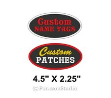 "Custom Embroidered Name Tag Oval Patch Motorcycle Biker 2 Line 4.5"" X 2.25"""