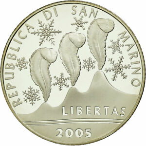 [#735647] San Marino, 5 Euro, Jeux olympiques de Turin, 2006, Proof, FDC, Argent