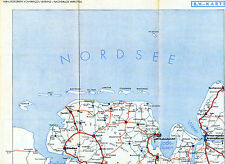Emden Norden Jever 1937 hälftige orig. Auto-Karte Cuxhaven WHV Varel Esens Zetel
