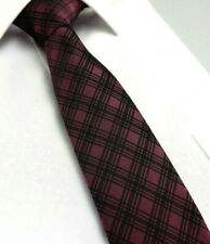 Wine Scottish Tartan Tie Red Purple Black Checked Plaid Silk CL36